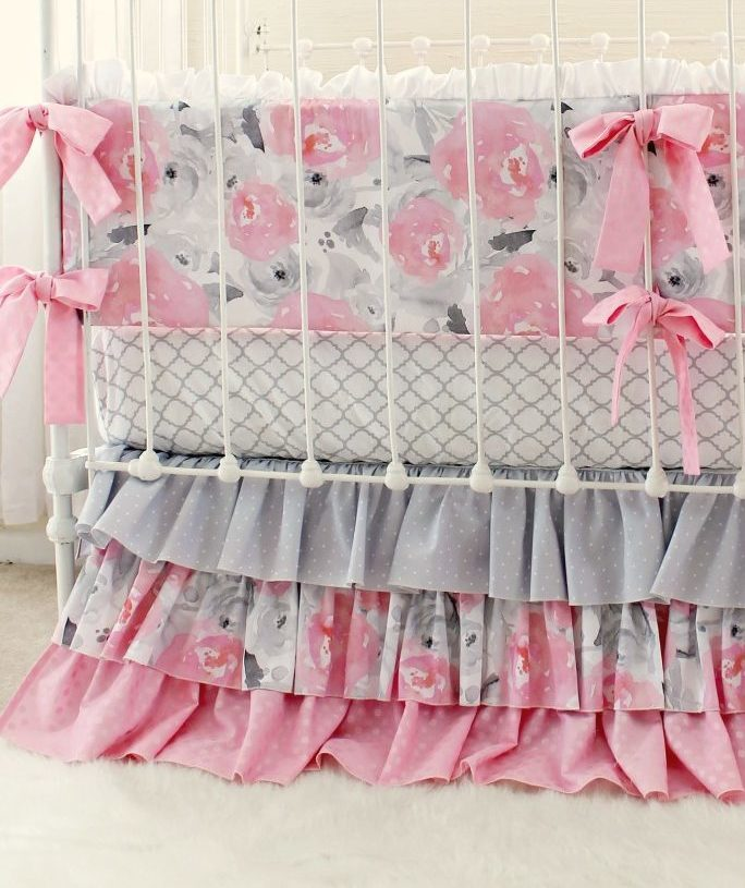 Pink And Gray Baby Bedding Bumper Set For Girls Nursery