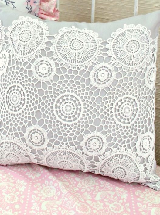 Gray crochet lace pillow