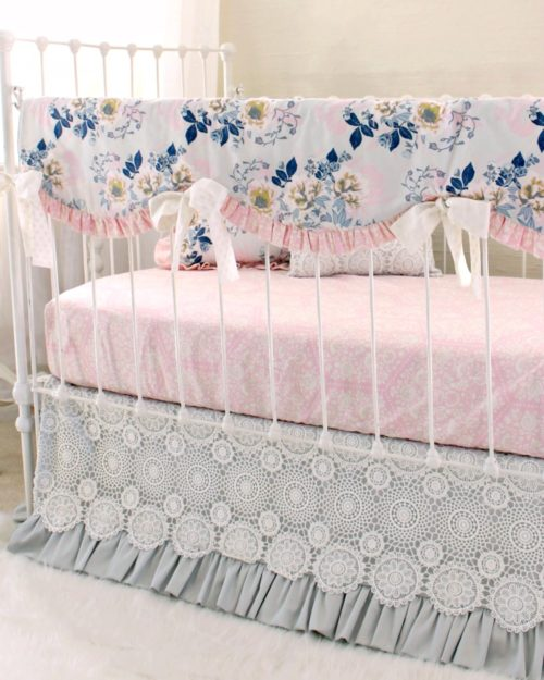 ethereal lullaby rail cover bumperless baby bedding u2013 gray