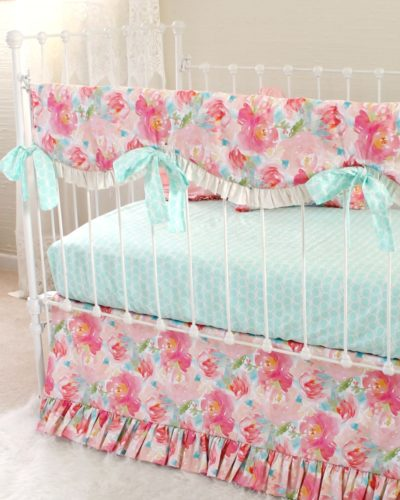 Pink watercolor floral crib bedding