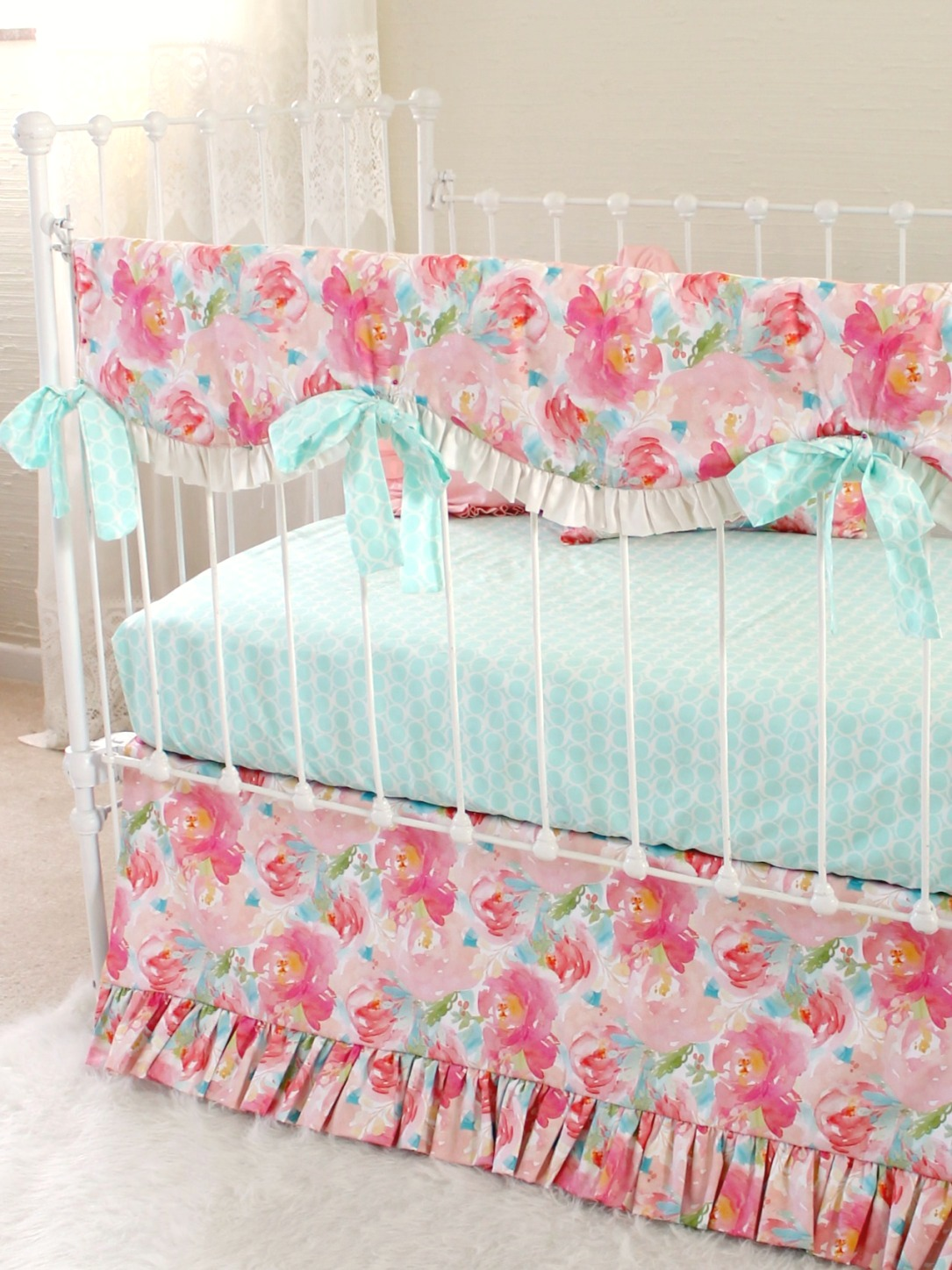 Pastel Peonies Rail Cover Bumperless Set Lottie Da Baby