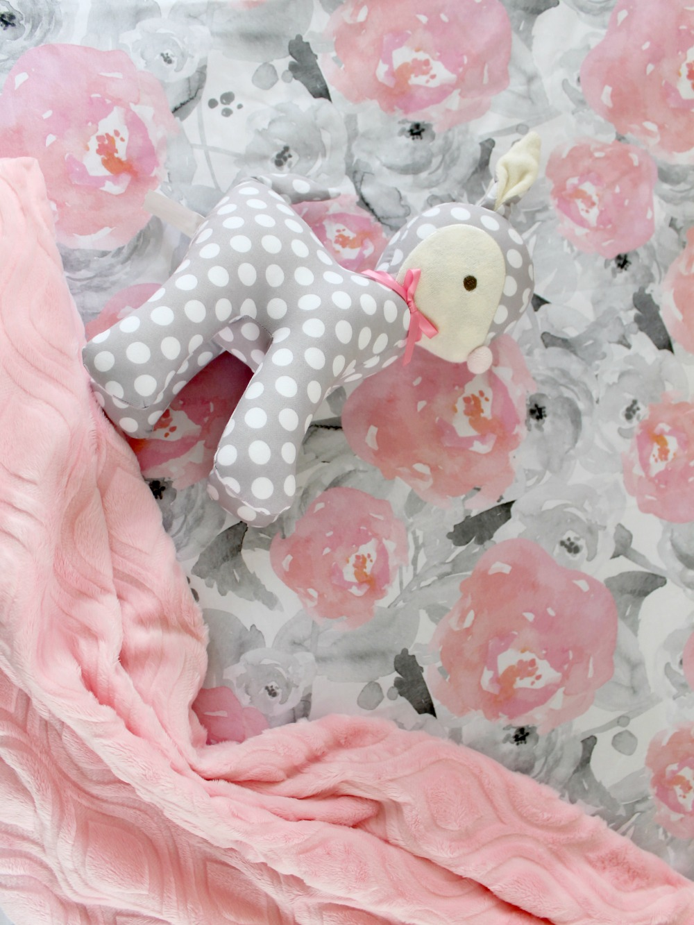 Pink And Gray Watercolor Floral Crib Sheet Lottie Da Baby