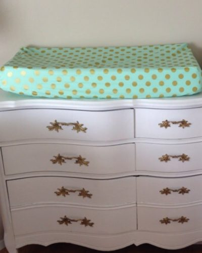 Mint and Gold Dot Changing Pad Cover