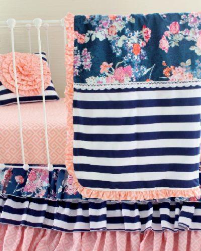 Navy Floral Blend Set with Toddler Blanket