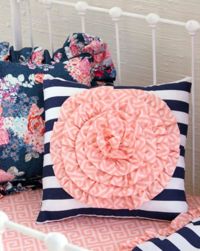 Navy Floral Rosette Pillow Small