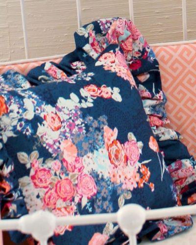 Navy Floral Ruffle Trim Pillow