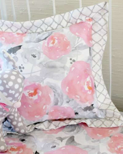 Pink Clouds and Silver Linings Pillow with Gray Quatrefoil Flat Trim