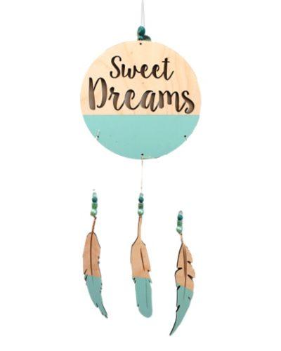 teal feather boho dreamcatcher