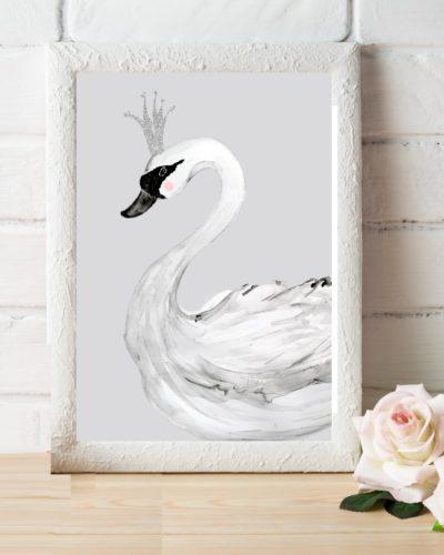 gray swan art print