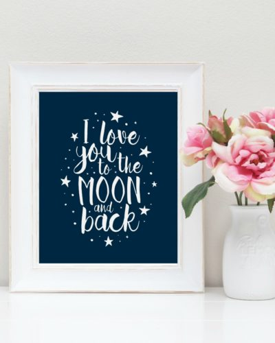 Navy to the moon and back nursery art print
