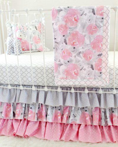 Pink & Gray Floral Blanket crib set