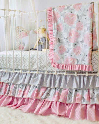 pink clouds blanket set