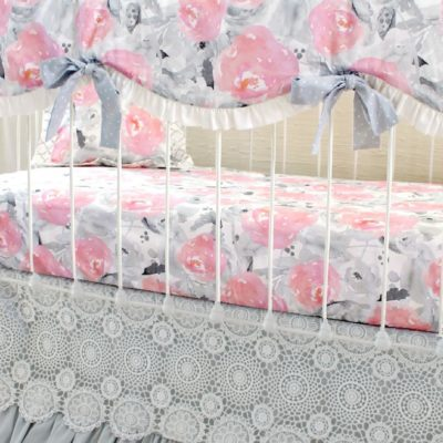 pink clouds and silver linings bumperless crib set u2013 gray