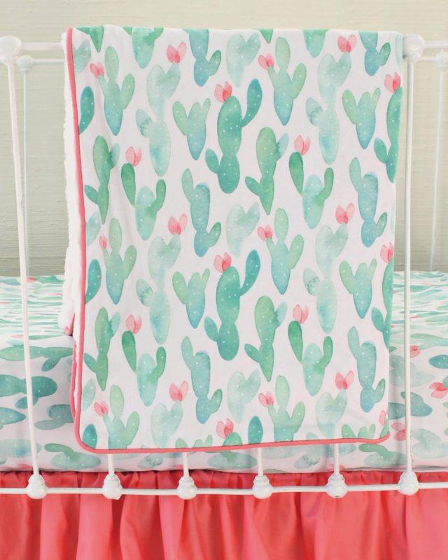 Cactus Print Baby Blanket