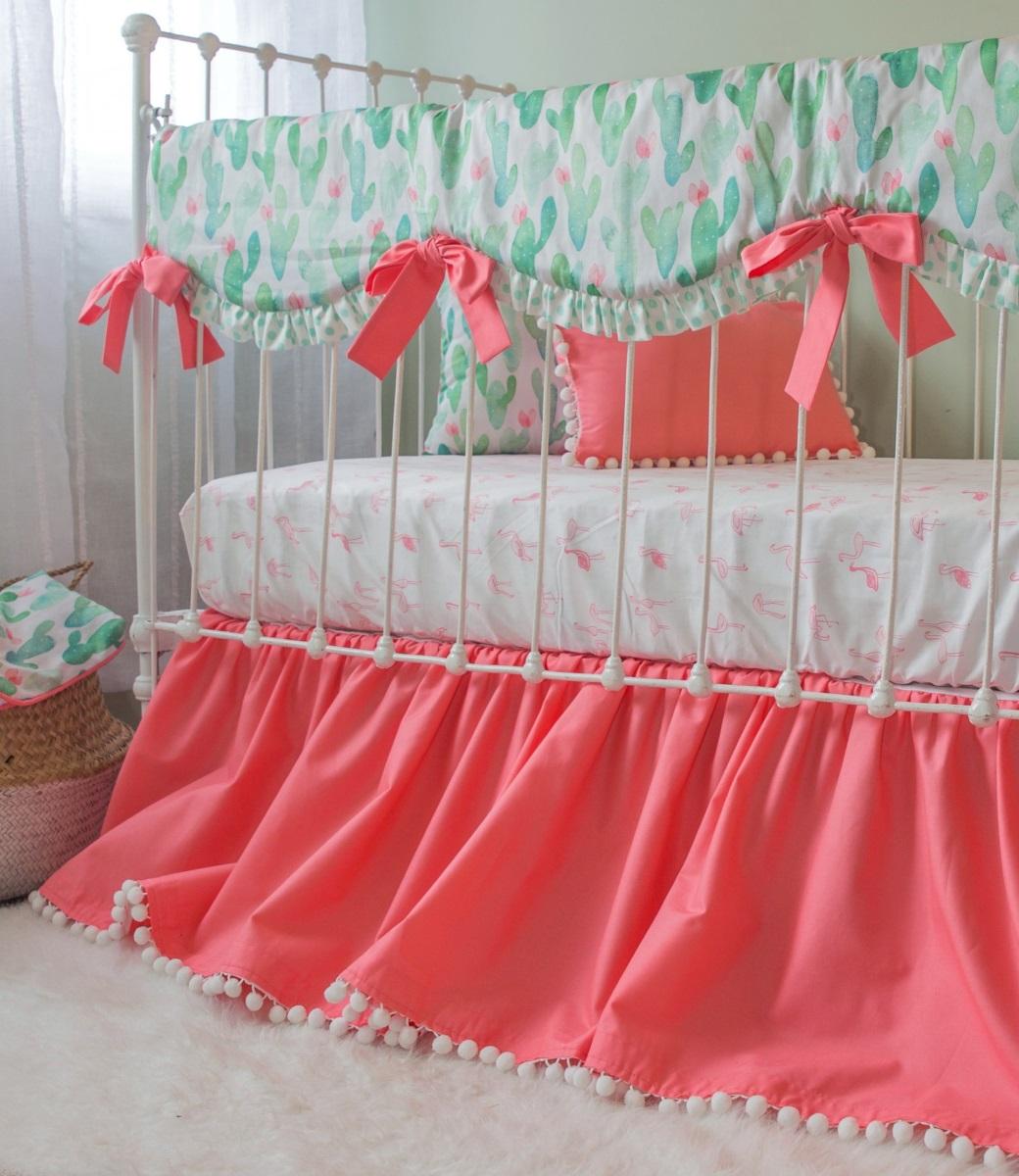 Watercolor Cactus Bumperless Baby Bedding Lottie Da Baby