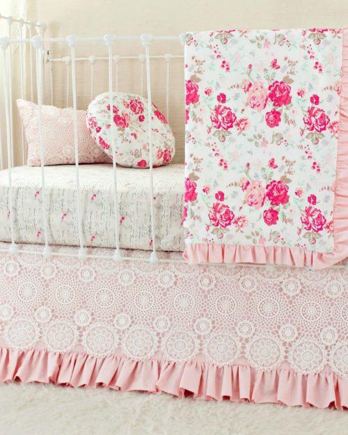 vintage chic pink blanket set