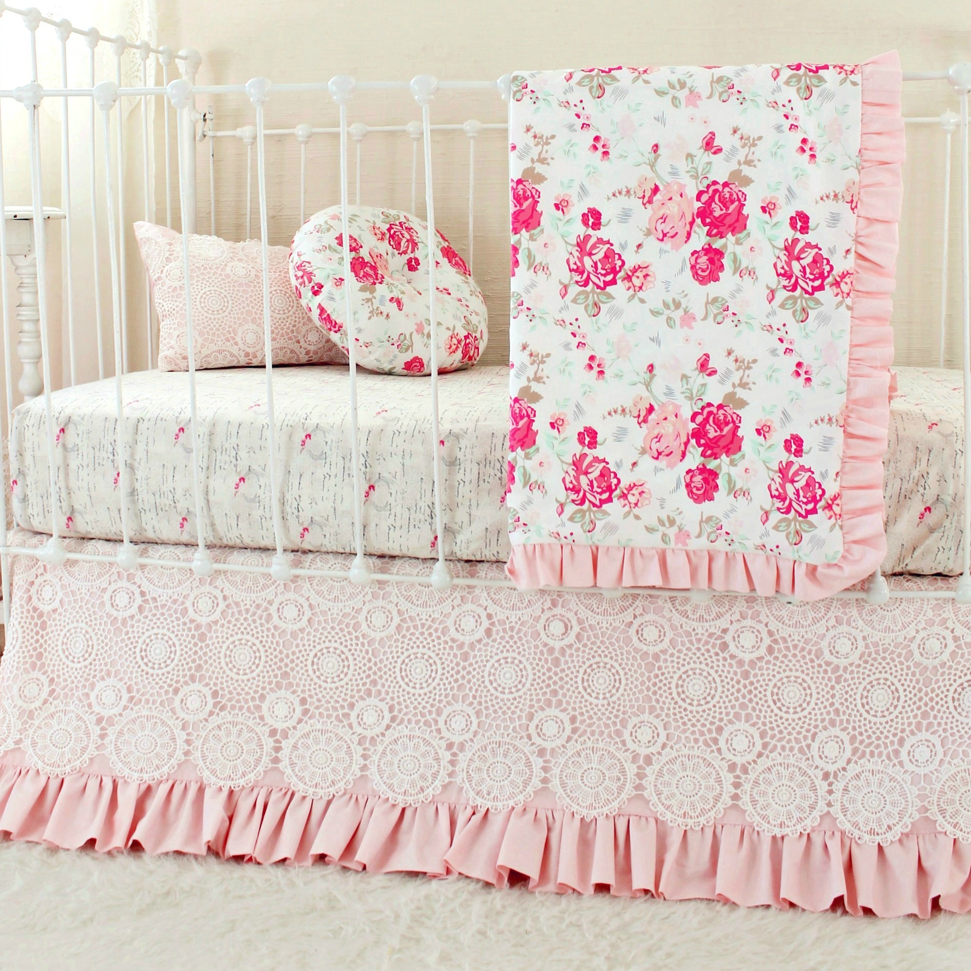 chenille floral bedding shabby nursery crib including furniture baby pink bed portable inspirations girl chic