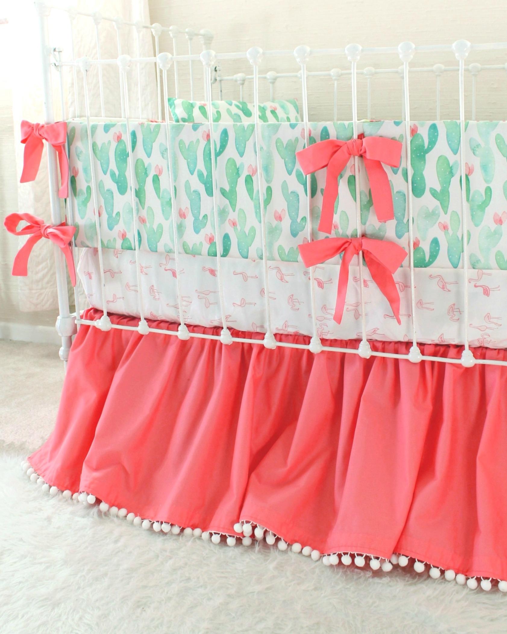 Watercolor Cactus Blossoms Crib Bedding Lottie Da Baby