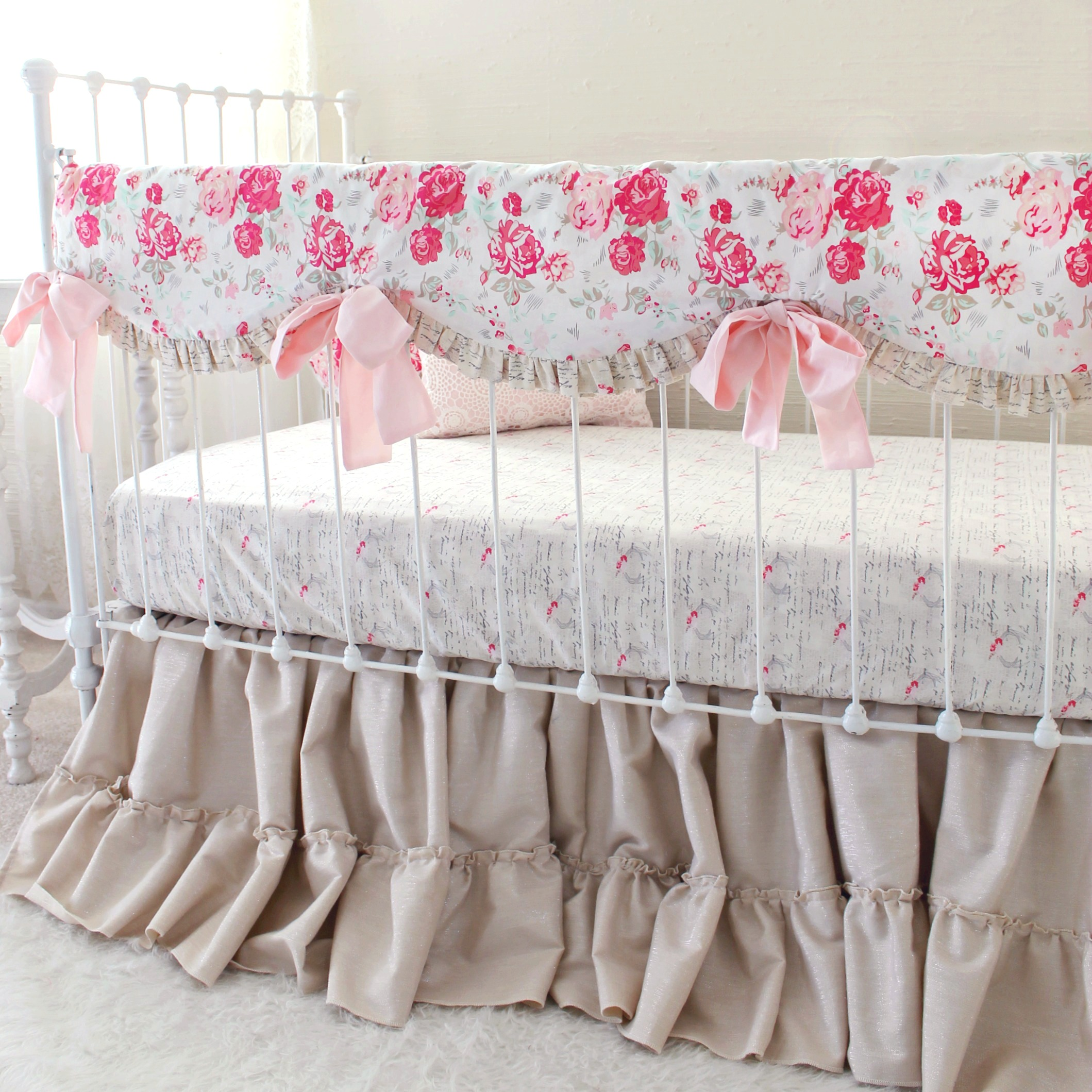 set lavender and bedding cribs carousel shabby large crib designs gray pink traditions floral baby
