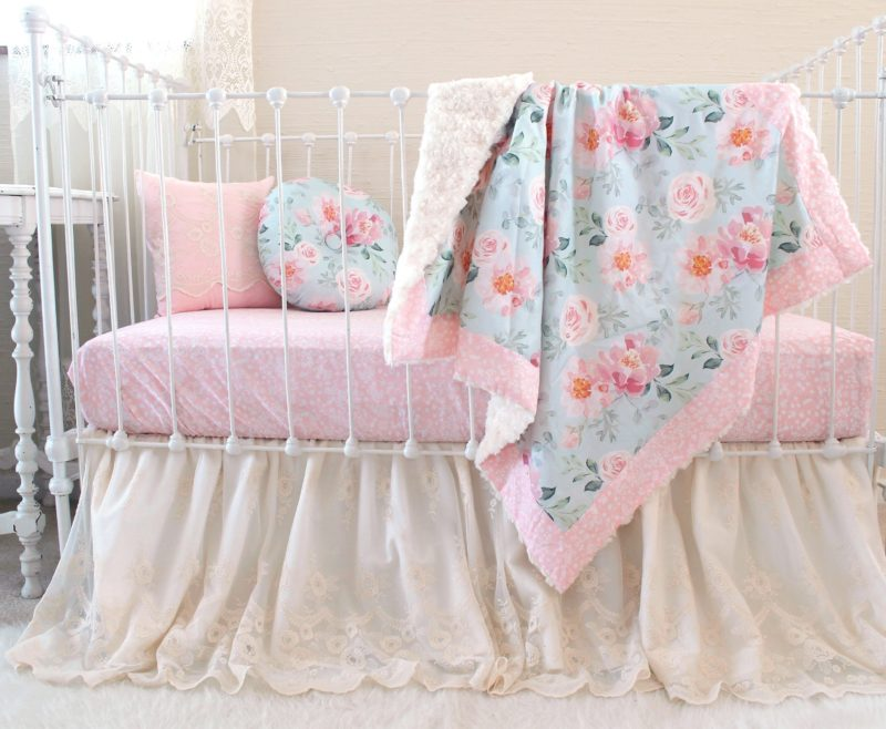 Blush and Blue Floral Crib Set