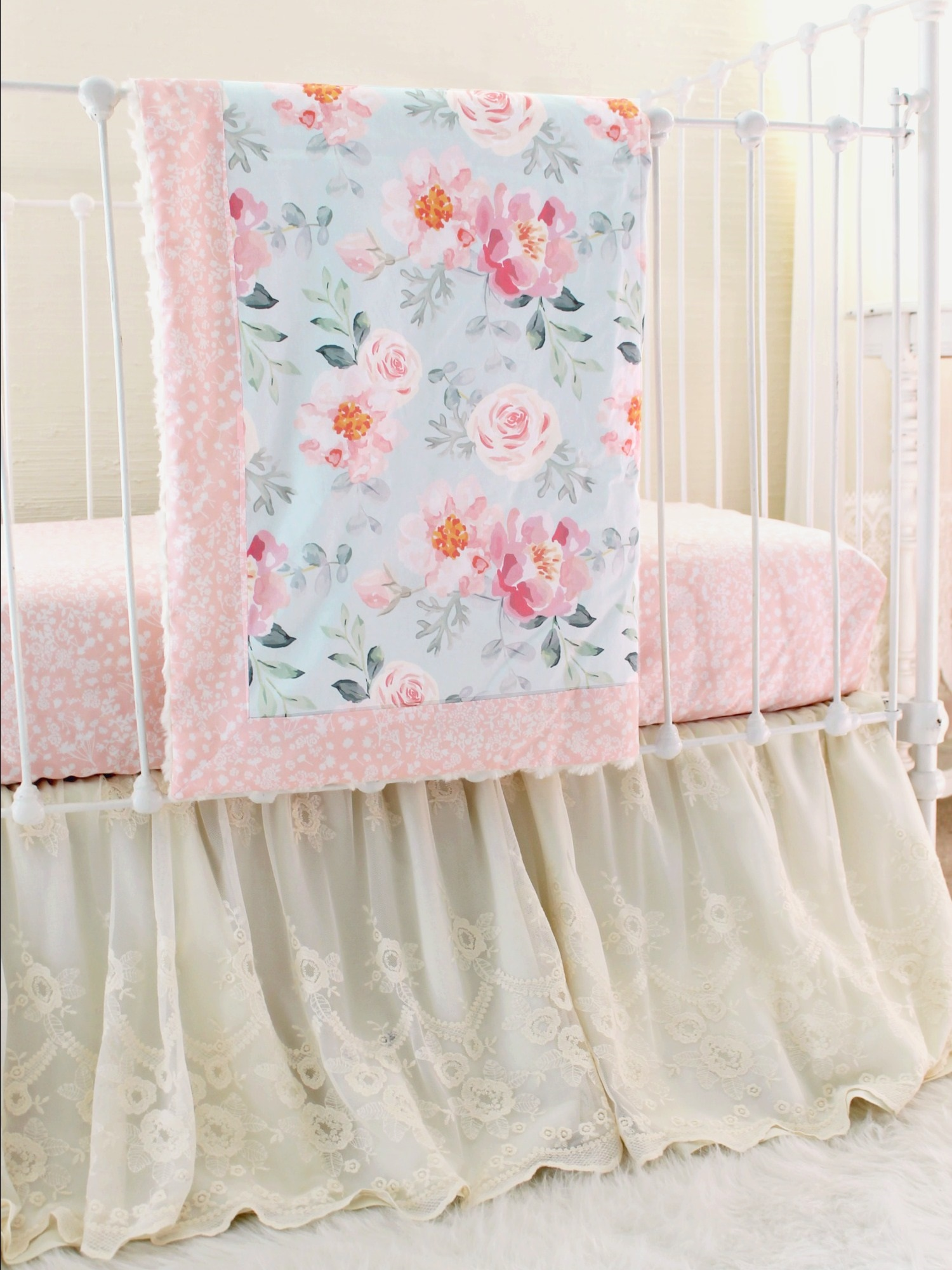 Vintage Floral Crib Bedding Romantic Blooms