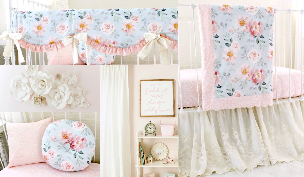 Vintage Blush Pink FLoral Baby Girl Nursery Crib Bedding