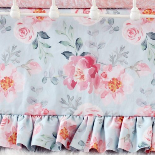 Romantic Blooms Floral Crib Skirt