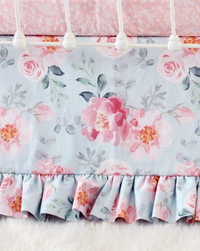 Romantic Blooms Floral Crib Skirt