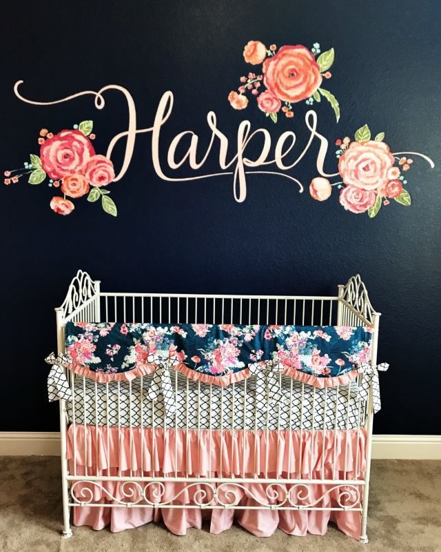 Blush Amp Navy Floral Crib Bedding Set Lottie Da Baby