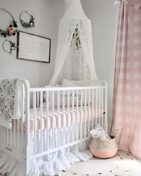 Gray Pink Nursery: Pink And White Crib Bedding -Girls Farmhouse Nursery