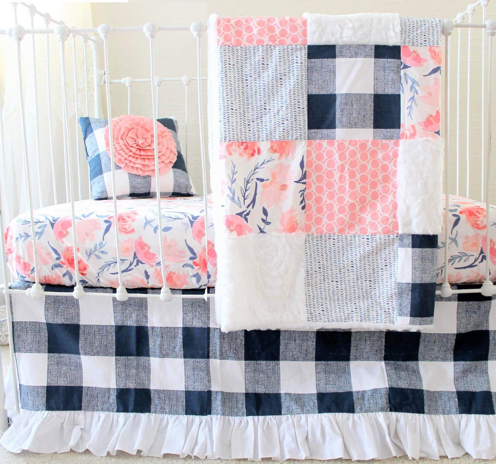 Pink Amp Navy Buffalo Check Crib Set Lottie Da Baby